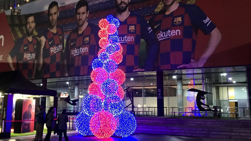 Alternate Christmas tree at the Nou Camp in Barcelona