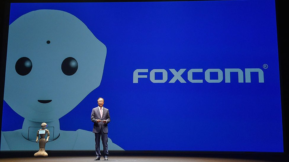 Terry Gou, CEO of Foxconn Technology group speaks during the news conference on June 18, 2015 in Chiba, Japan.