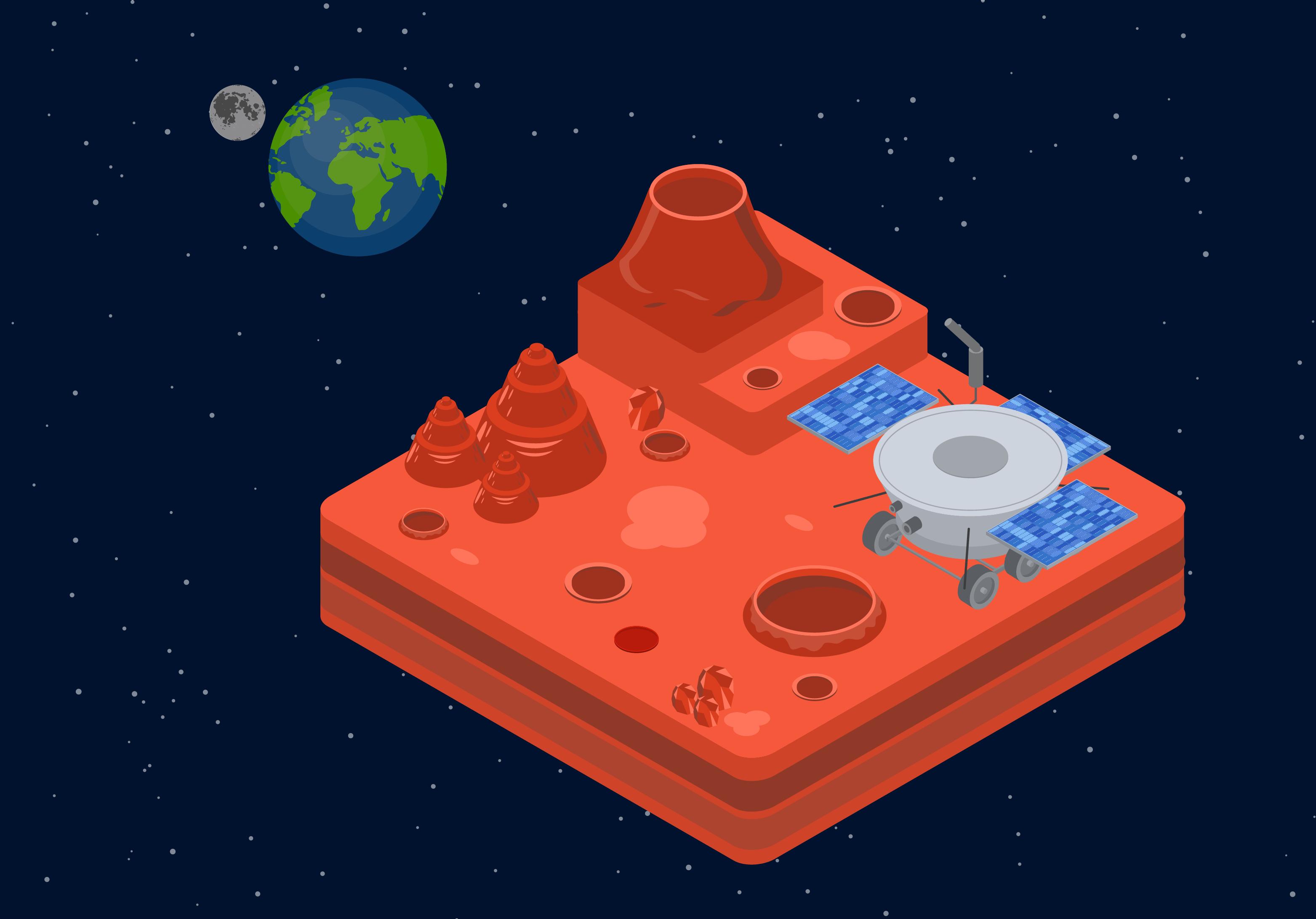 Ilustración isométrica de Marte con una sonda exploradora y, de fondo, la Tierra y la Luna.