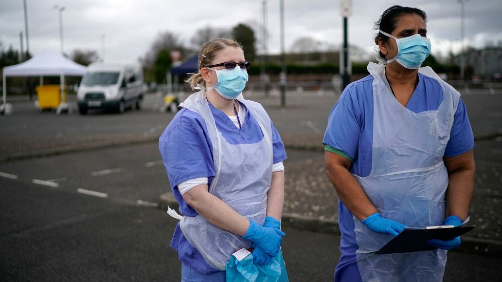nurses at testing centre