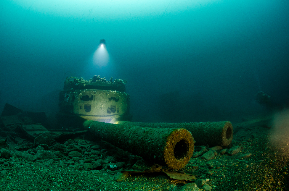 The wreck of The HMS Audacious off the northern coast of County Donegal, Ireland