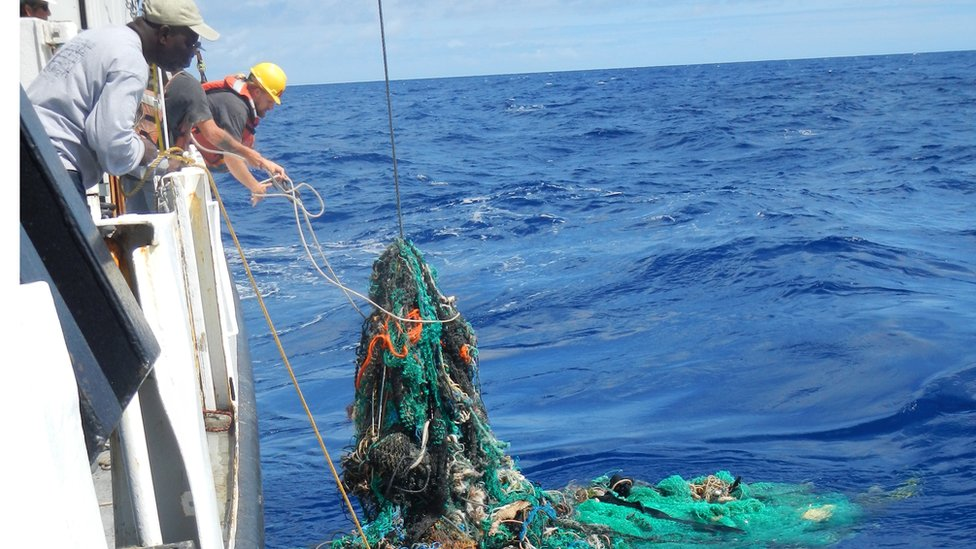 Discarded fishing net in the Pacific