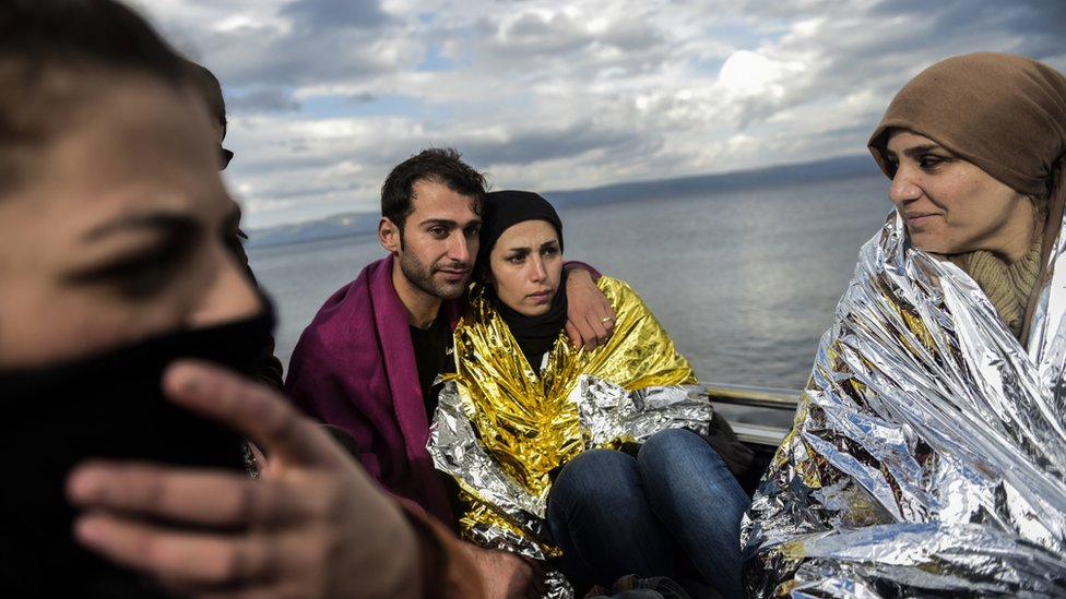 Migrants newly arrived on Lesbos, Greece