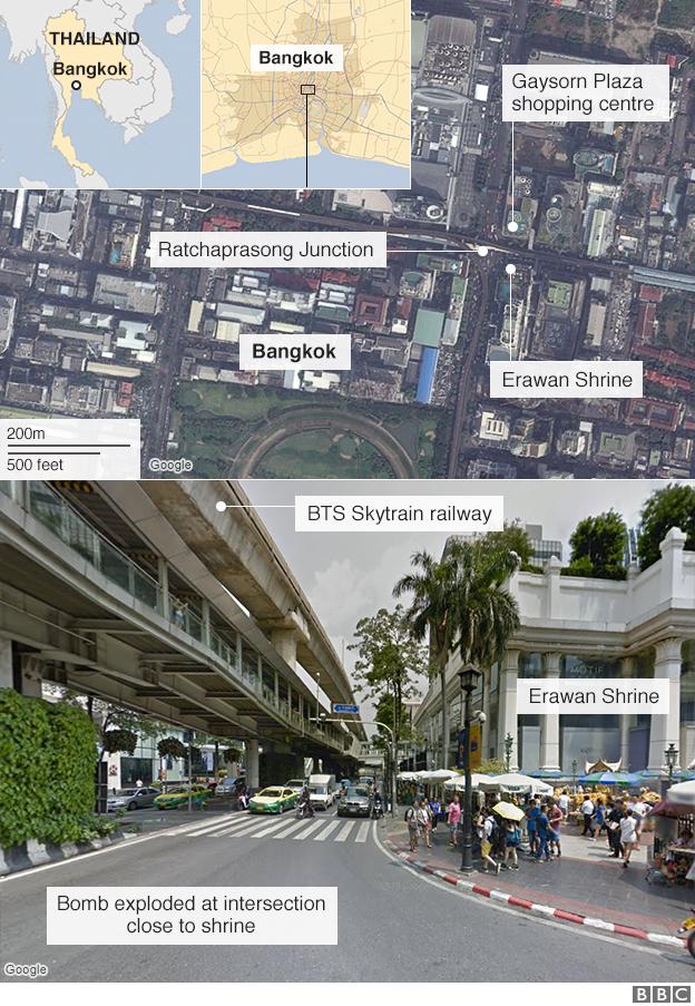 Map: Bangkok blast near Erawan Shrine