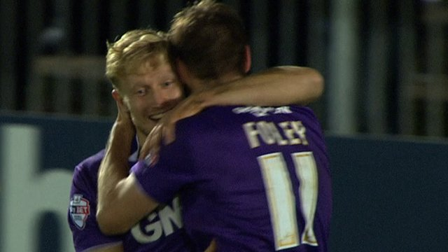 A-Jay Leitch-Smith scores his second goal against Maidenhead
