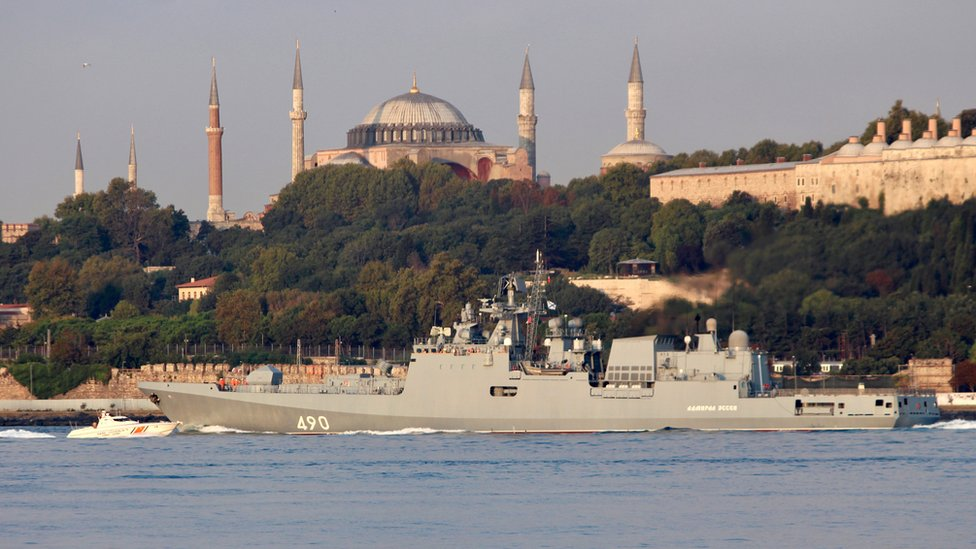 The Russian frigate Admiral Essen passes Istanbul, Turkey, 25 August 2018