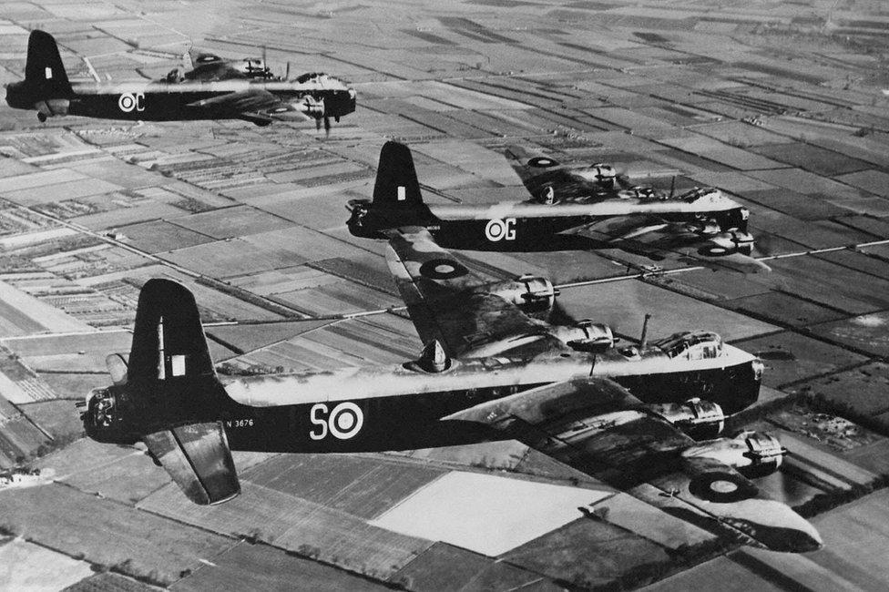 Short Stirling planes flying over over Cambridgeshire, April 1942
