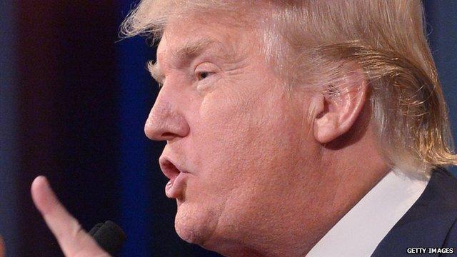 Donald Trump gesticulating during the Republican presidential candidate TV debate