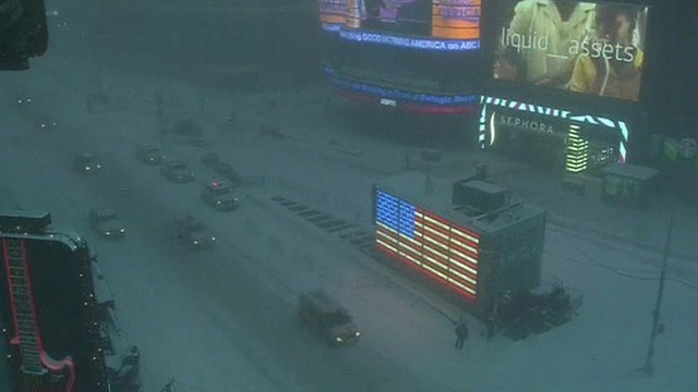 Time Square in the snow