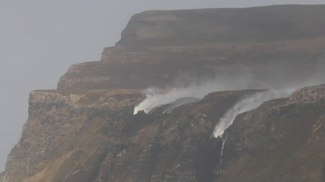 Waterfall being blown backwards