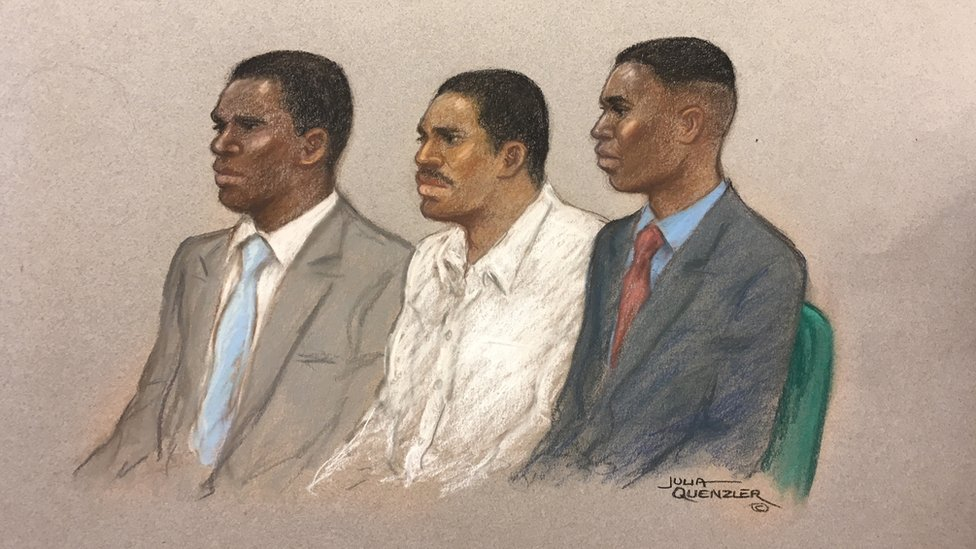 (L-R) Merse Dikanda, Jonathan Okigbo and George Koh appearing at the Old Bailey.