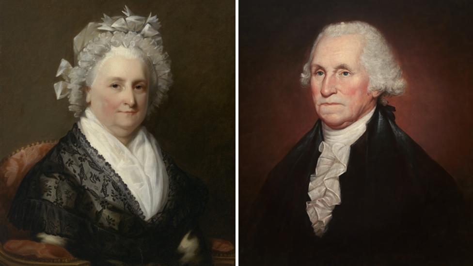 Martha Washington (artista no identificado) y George Washington (Rembrandt Peale 1795)