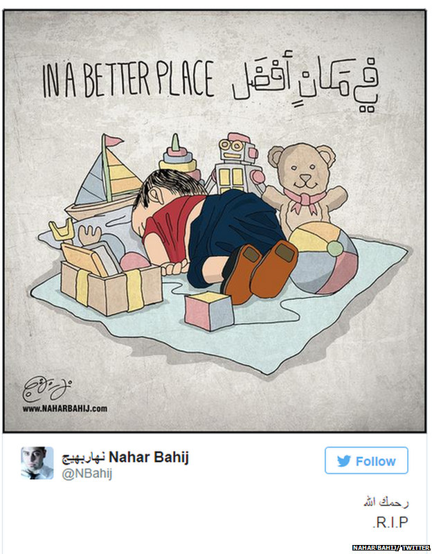 "Tweet with cartoon of dead child surrounded by toys, with the caption ""In a better place"""