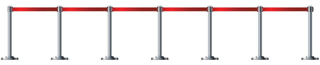 Illustration of airport-style queue barriers