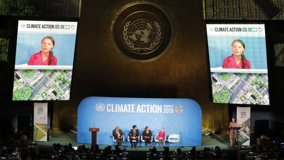 2019年9月23日,16歲的格蕾塔·桑伯格在美國紐約市聯合國總部舉行的氣候行動峰會上發言。
