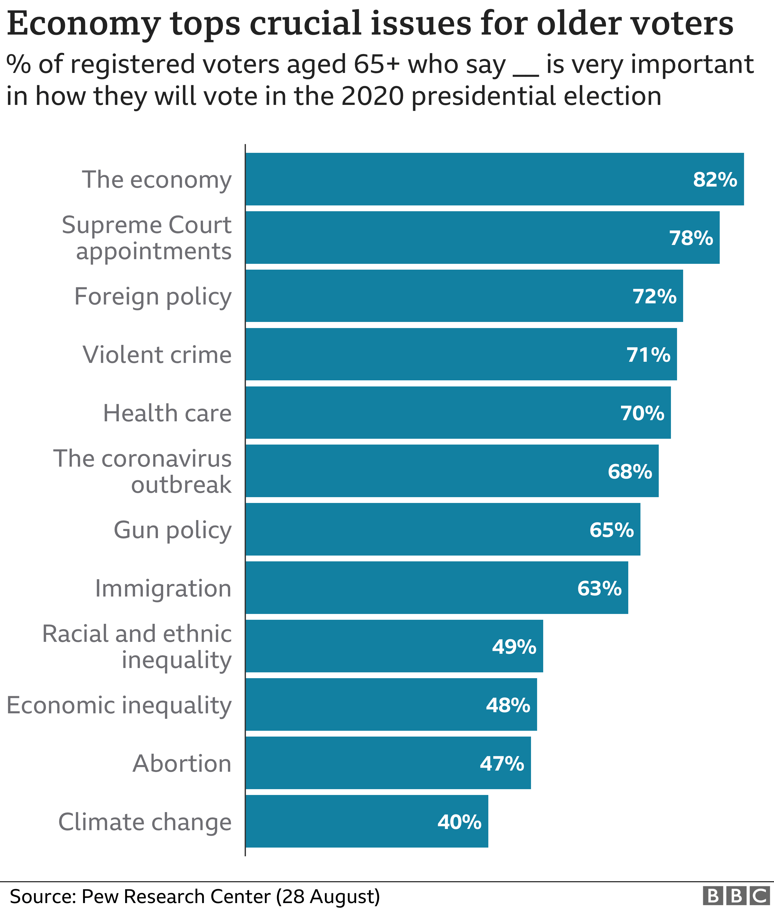 Graphic showing which issues matter to older voters