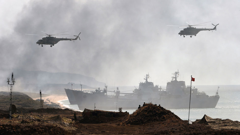 File picture of a Russian military exercise off Crimea
