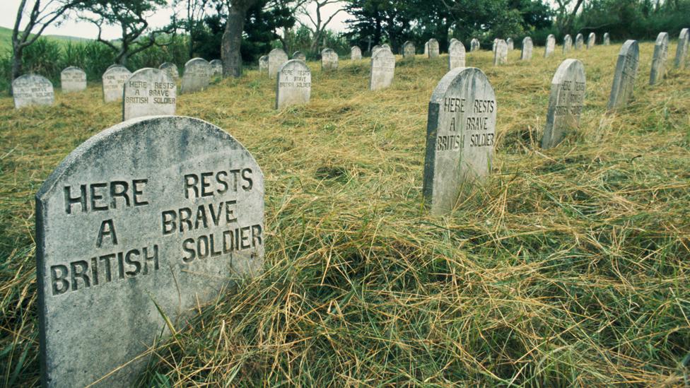 British solders' graves from the Zulu War in Kwazulu, South Africa