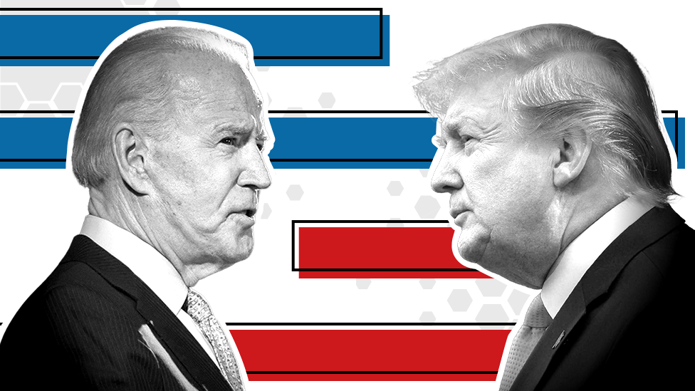 Headshots of Joe Biden and Donald Trump facing each other