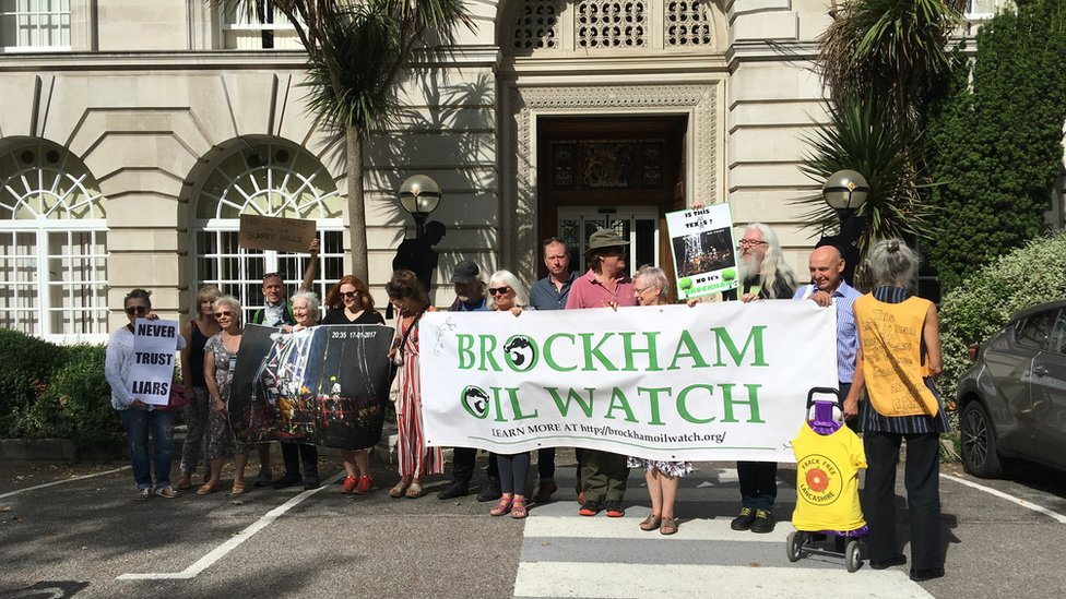 Protesters gather outside Surrey County Hall against Brockham well site application
