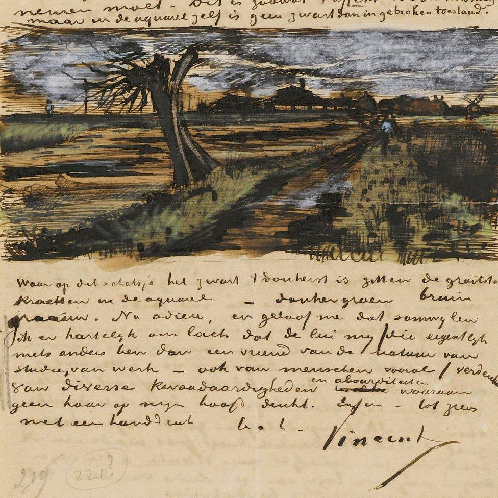 Sauce podado. Carta de Vincent van Gogh a su hermano Theo. (Colección del Museo Van Gogh)