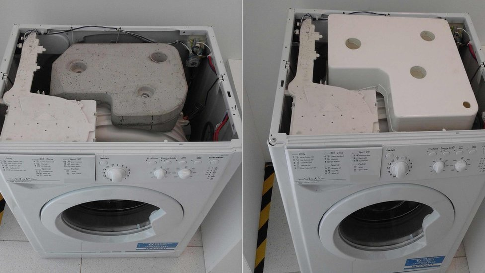 washing machine before and after device