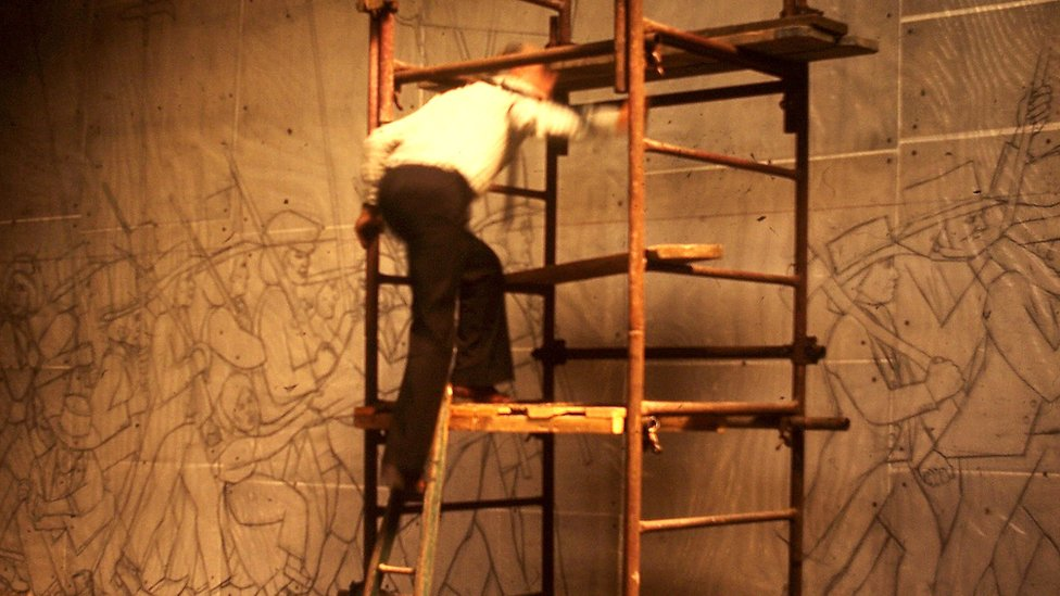 Kenneth Budd working on drawings for the Chartist mural