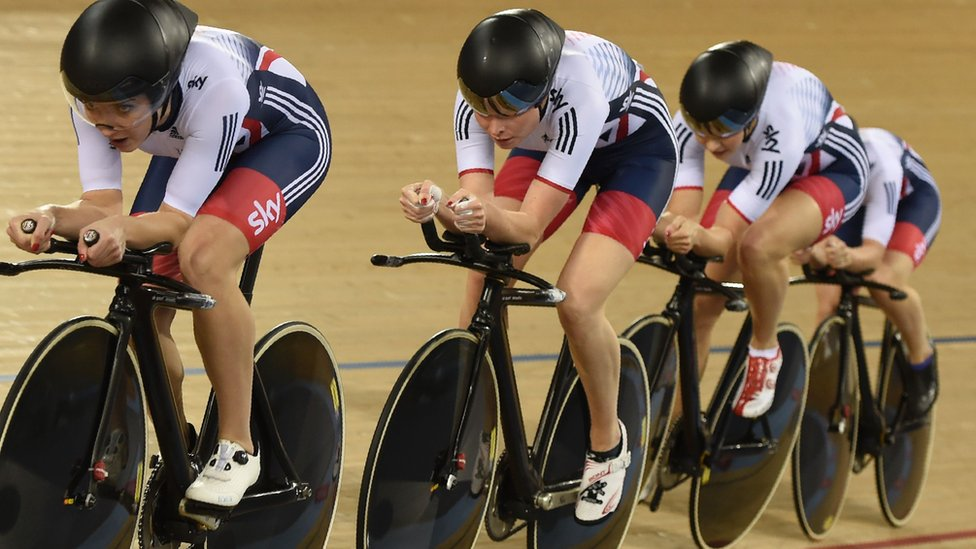 The GB team of Joanna Rowsell Shand, Laura Trott, Elinor Barker and Ciara Horne competing at the 2016 World Championship in London