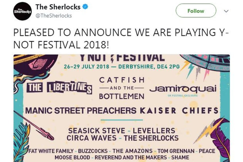 The Sherlocks' tweet