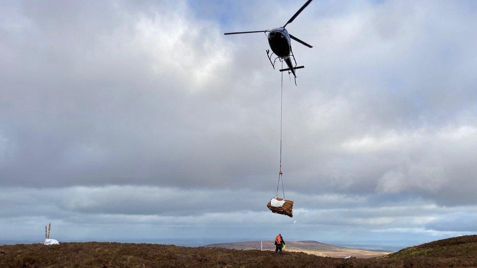 Helicopter over bogland