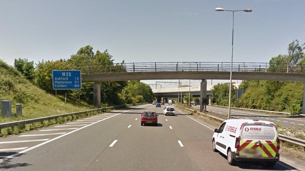 Pedestrian killed on M20 by articulated lorry