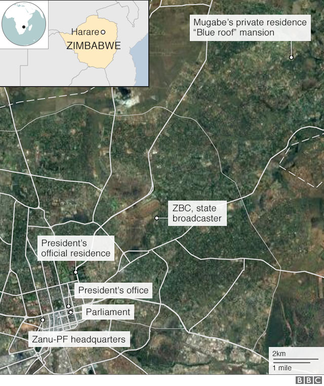 Map showing Mugabe's mansion in relation to government buildings in Harare