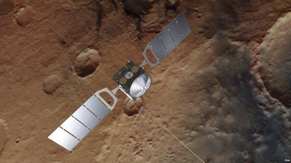 """""""El radar que usamos envía un pulso de una frecuencia muy baja. Y esas frecuencias de ondas de radio son capaces de penetrar bajo la superficie"""". El radar MARSIS está instalado en la sonda Mars Express, que fue lanzada en 2003."""
