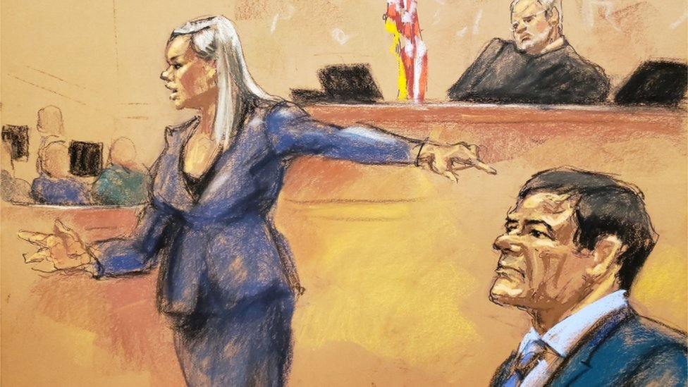 "Assistant U.S. Attorney Amanda Liskamm points at the accused Mexican drug lord Joaquin ""El Chapo"" Guzman (R) while delivering rebuttal during the trial of Guzman in this courtroom sketch in Brooklyn federal court in New York City"