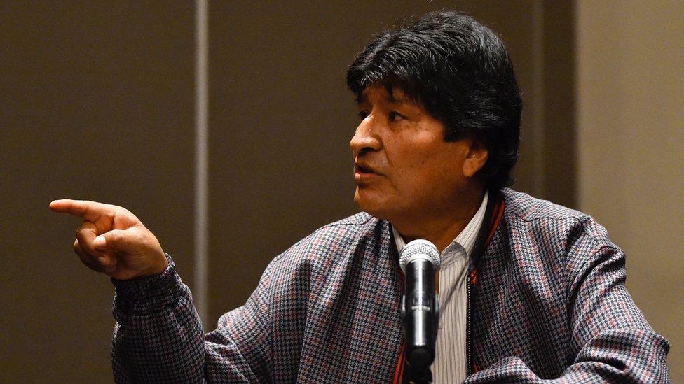 Evo Morales en conferencia de prensa