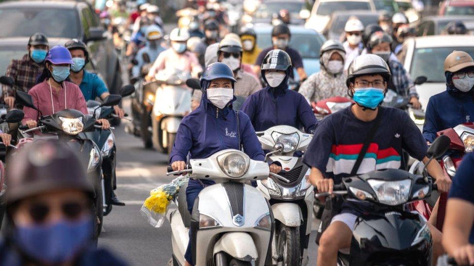 Rush hour street scene in Hanoi, Vietnam
