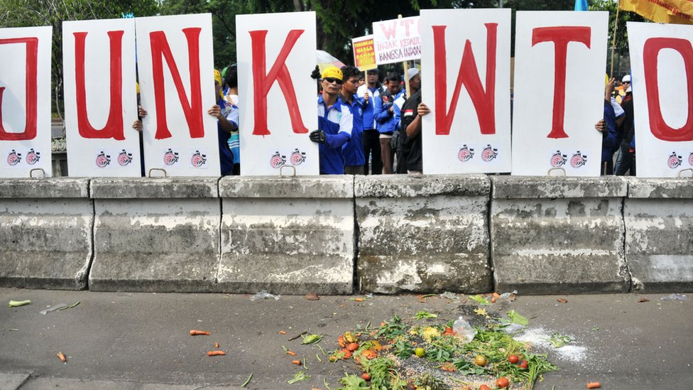 Protesters throw vegetables during an-anti WTO (World Trade Organization) rally in front of the US embassy in Jakarta on 6 Dec 2013