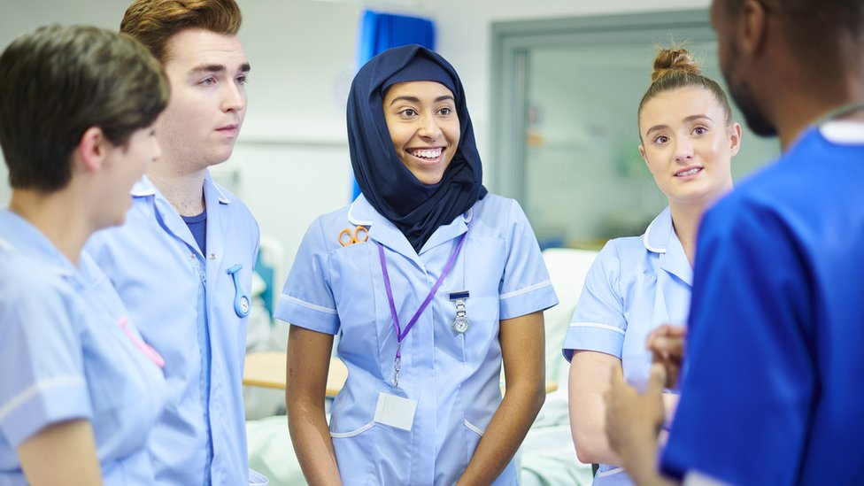 group of student nurses