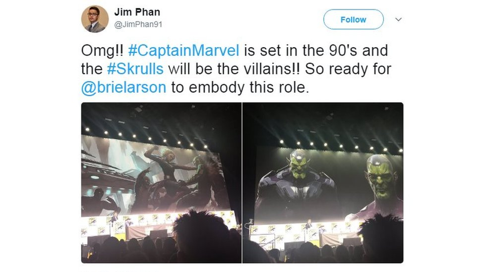 Tweet: OMG! Captain Marvel is set in the 90s and the Skrulls will be the villains. SO ready for Brie Larson to embody this role