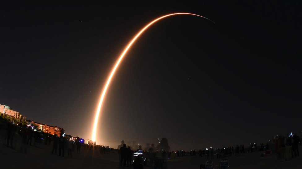 Time exposure of the launch of a SpaceX Falcon 9 rocket, seen from Cocoa Beach, Florida, USA on 6 January 2020 - it launched from nearby Cape Canaveral Air Force Station.