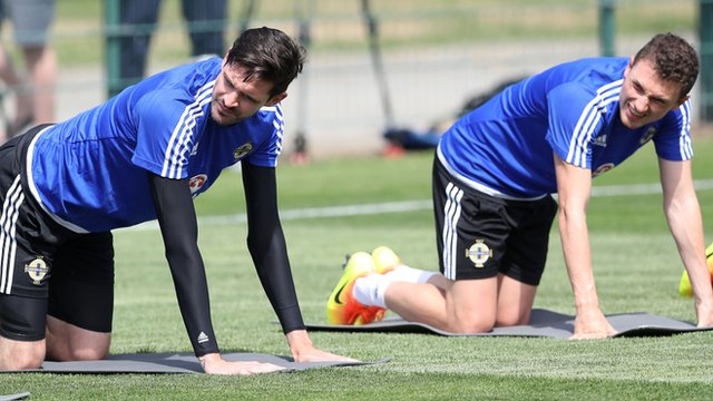 Kyle Lafferty and Corry Evans at Northern Ireland training on Friday