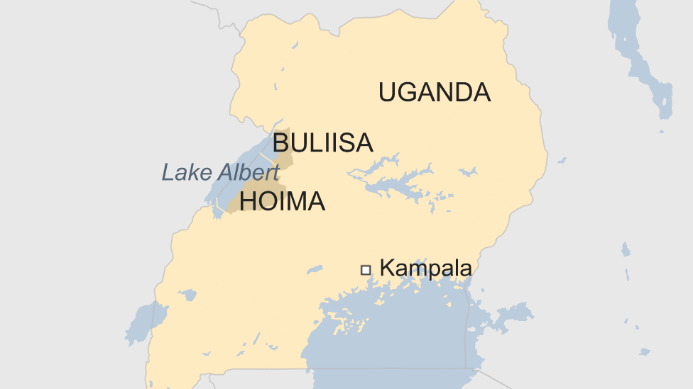 Map of Uganda highlighting districts of Buliisa and Hoima