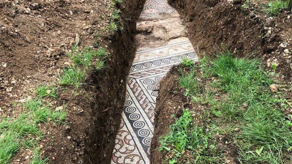 The mosaic floor found under a vineyard in northern Italy