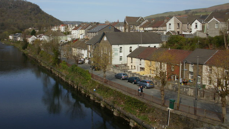 Sion Street normally with the river running alongside the road - taken in 2009