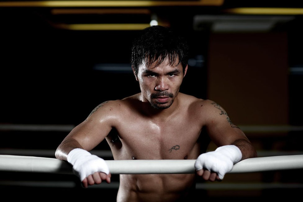 Manny Pacquiao trains at the Elorde boxing Gym