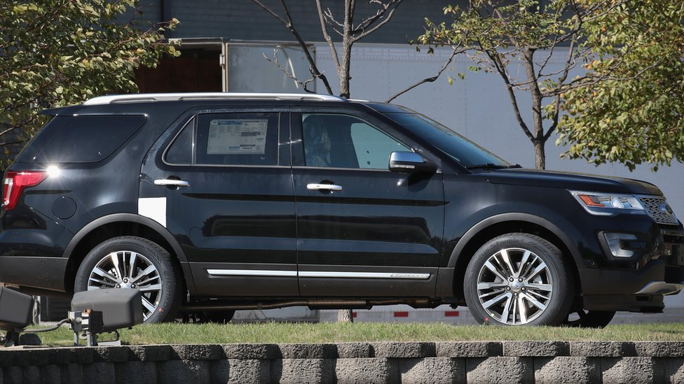 2017 Ford Explorer (an SUV) is displayed outside of Ford's Chicago Assembly Plant on October 18, 2017 in Chicago