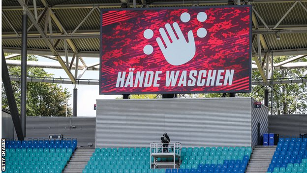 Wash your hands sign at RB Leipzig
