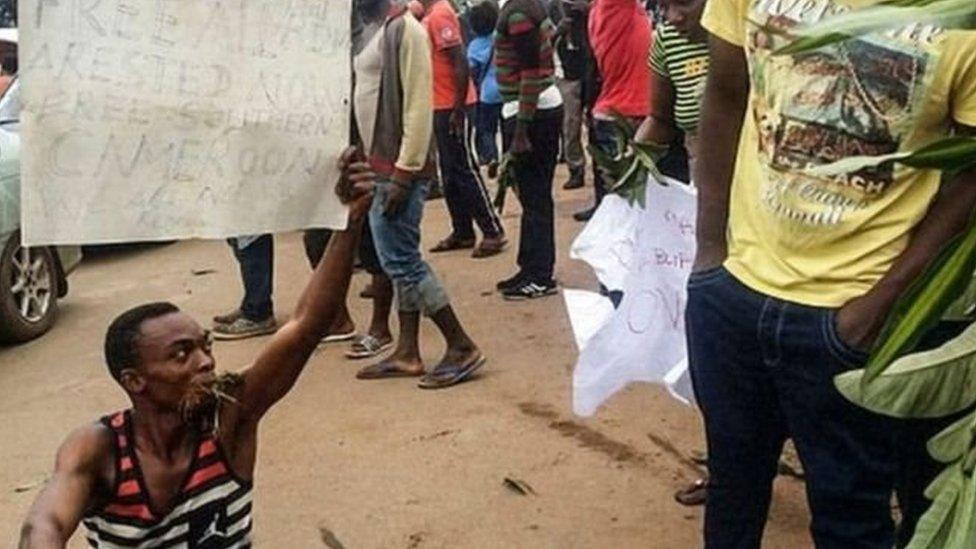 مظاهرات سابقة للمحتجين في المناطق الناطقة باللغة الإنجليزية