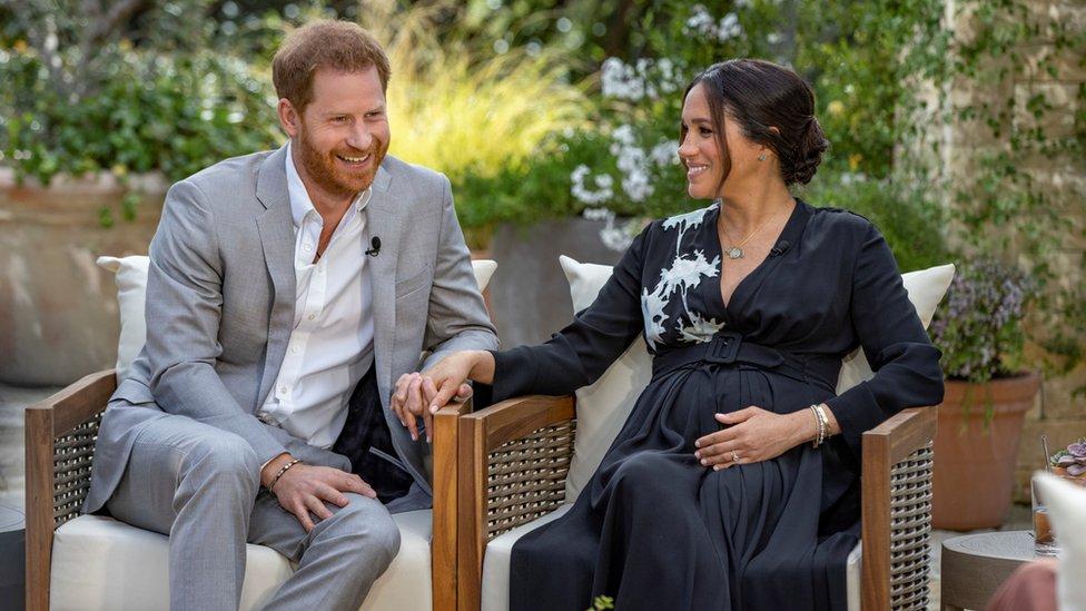 Harry y Megan en la entrevista con Oprah.