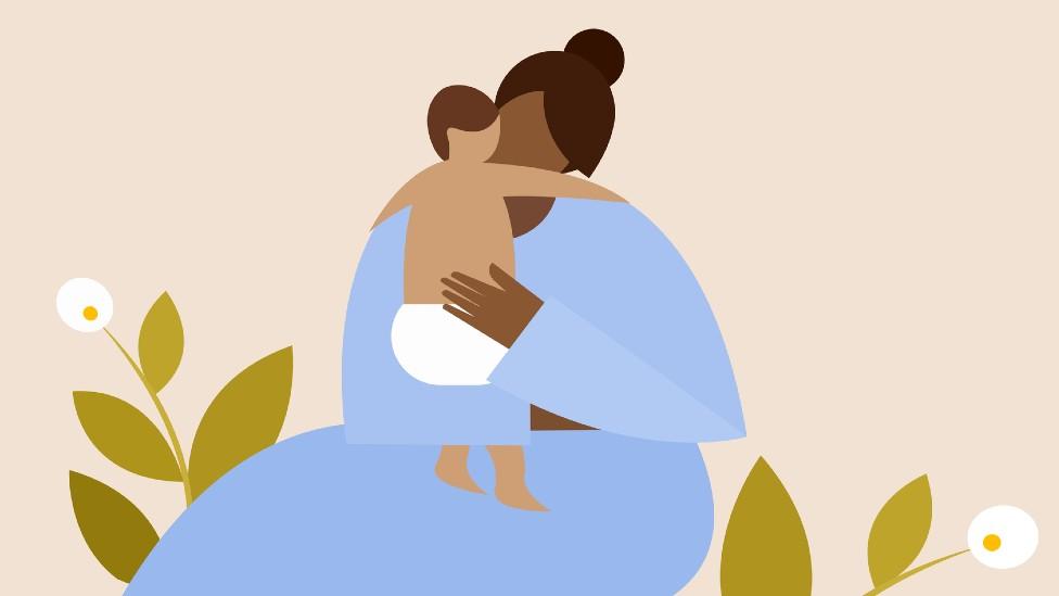 Ilustración de una mujer con un niño
